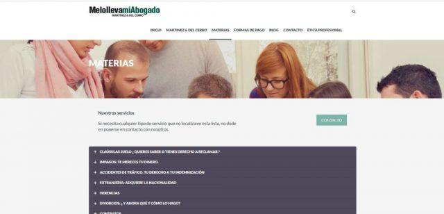 Diseño de la página de materias - Melollevamiabogado