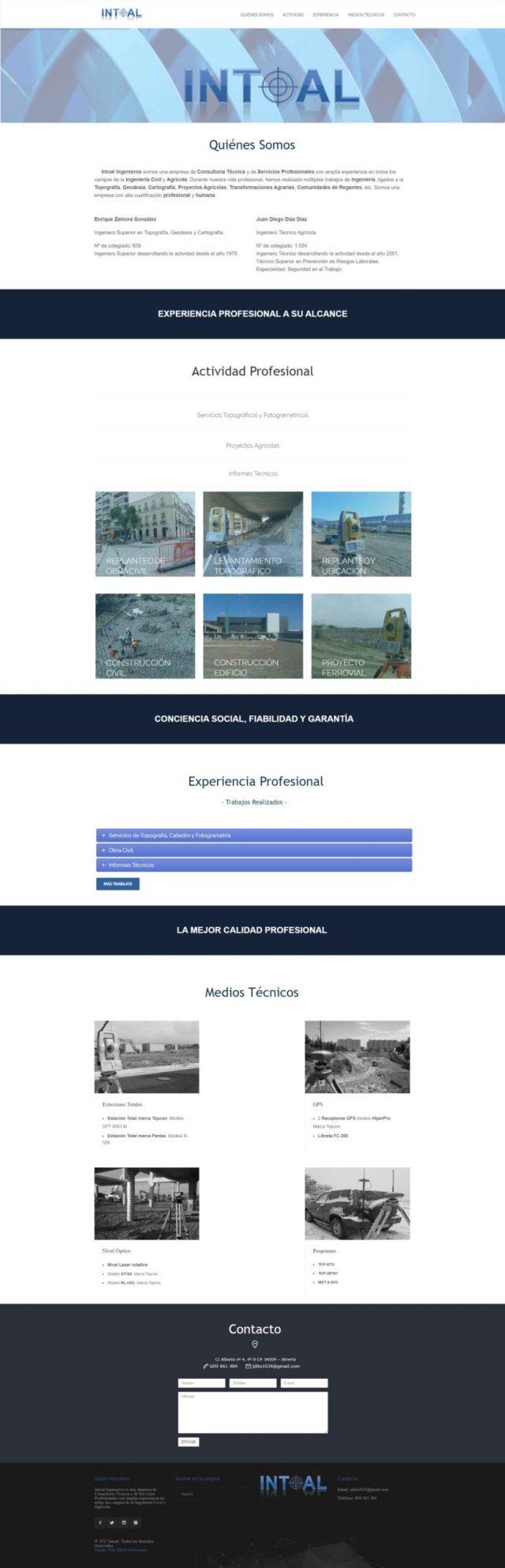 Diseño de la página de Inicio - Intoal