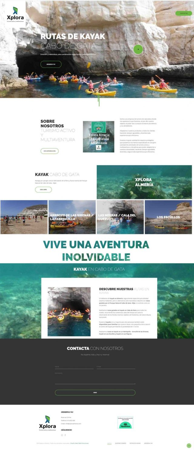 Diseño de la OnePage Kayak en Cabo de Gata