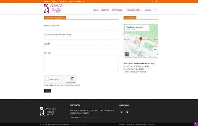 Diseño de la Página de Contacto de Amalar