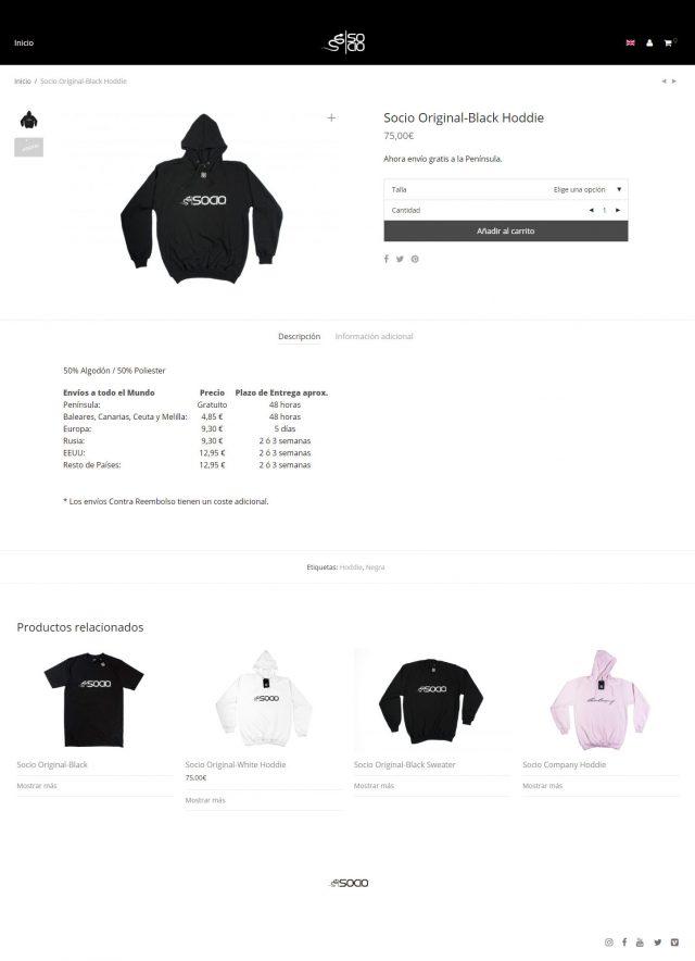 Diseño de la página de producto - Socio Company