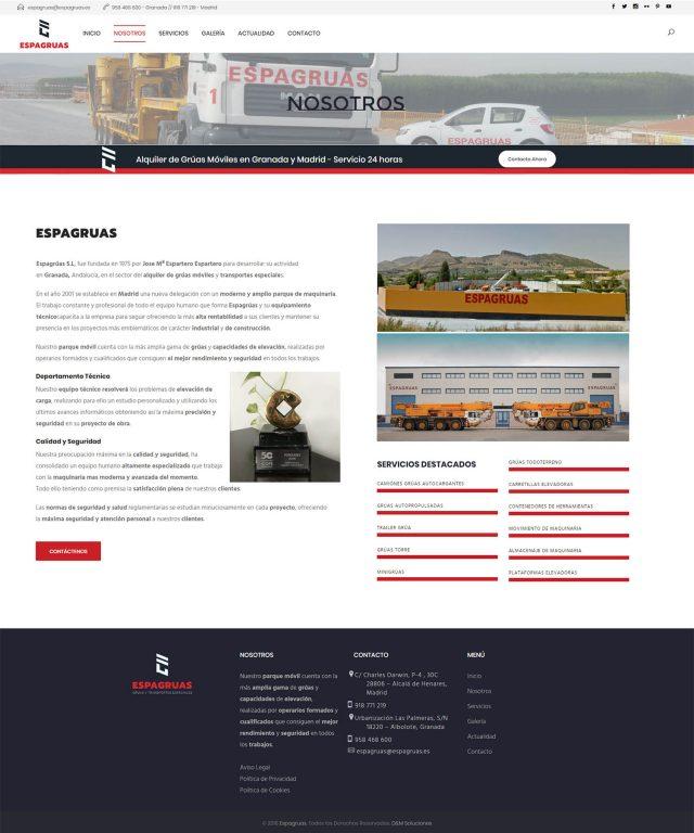 Diseño de la página nosotros - Espagruas