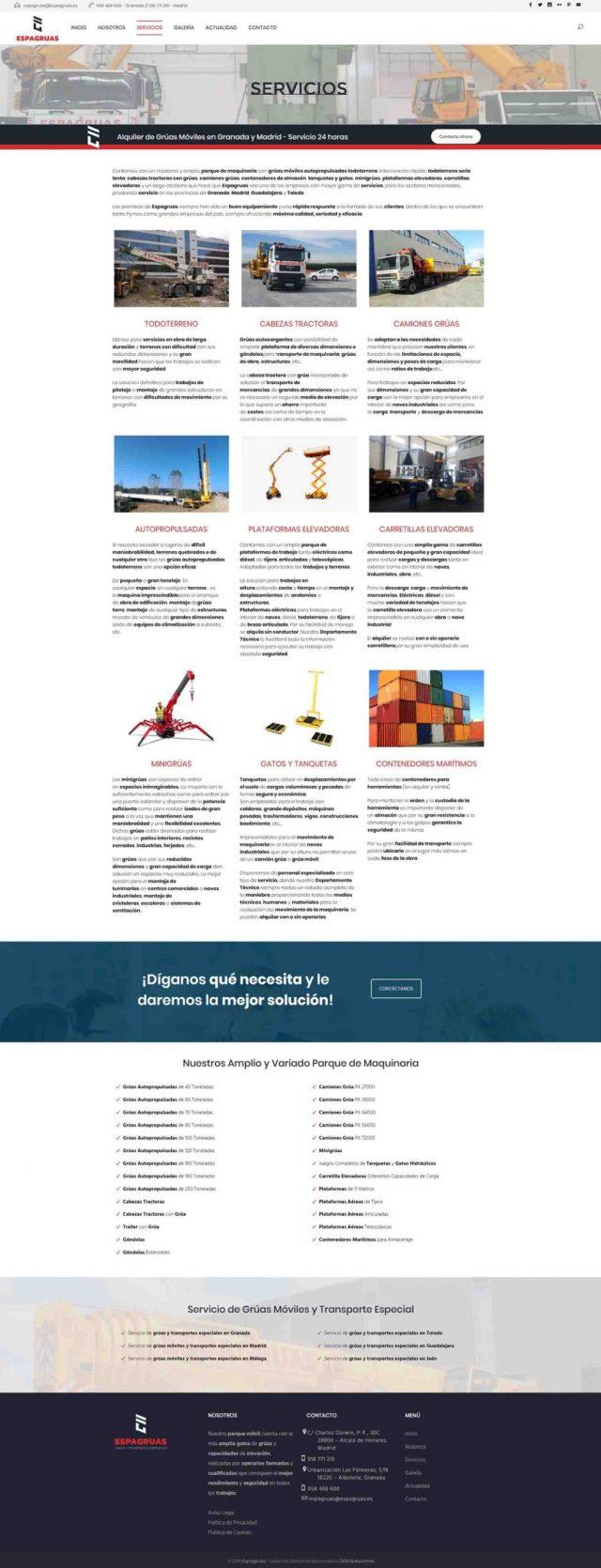 Diseño de la página servicios - Espagruas