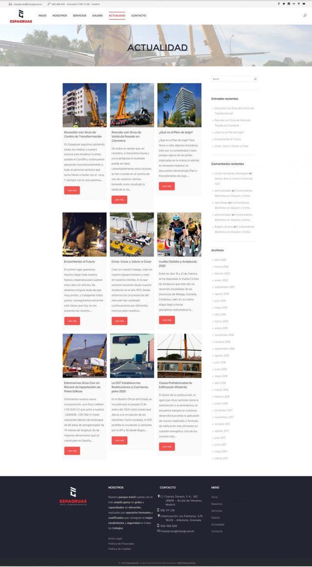 Diseño de la página actualidad - Espagruas