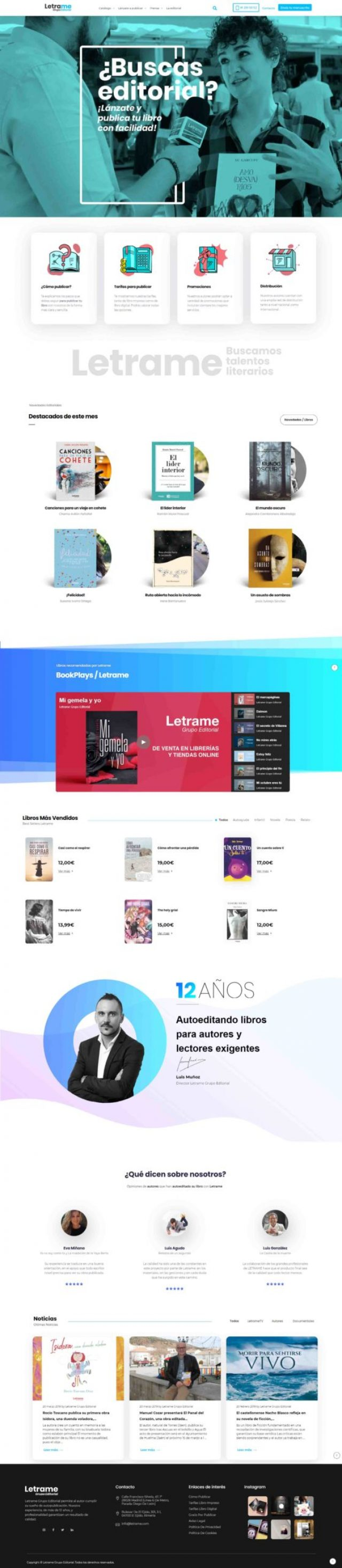 Diseño de la página de Inicio - Letrame Grupo Editorial