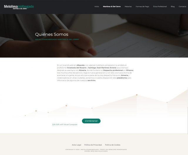 Diseño de la página de Quiénes Somos - Melollevamiabogado