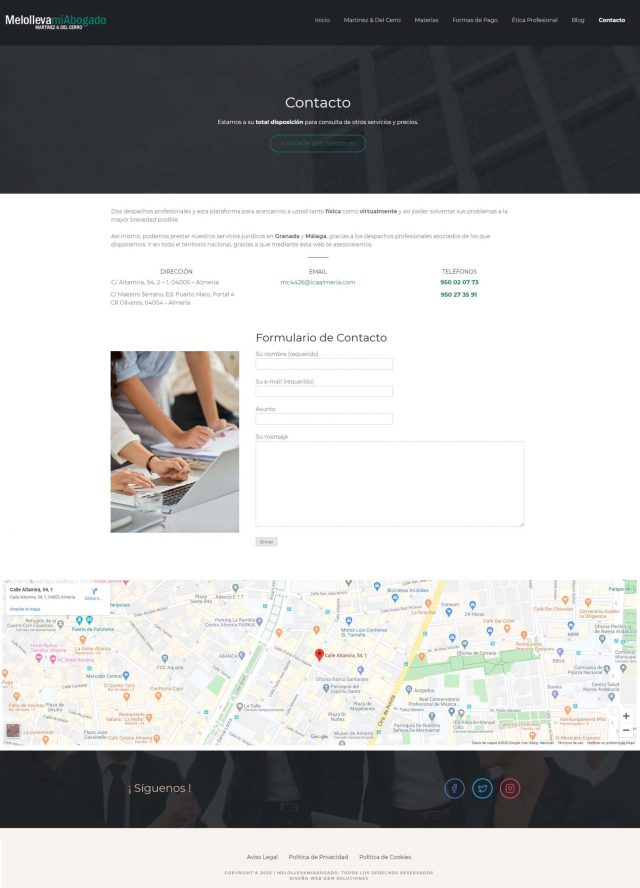 Diseño de la página de Contacto - Melollevamiabogado