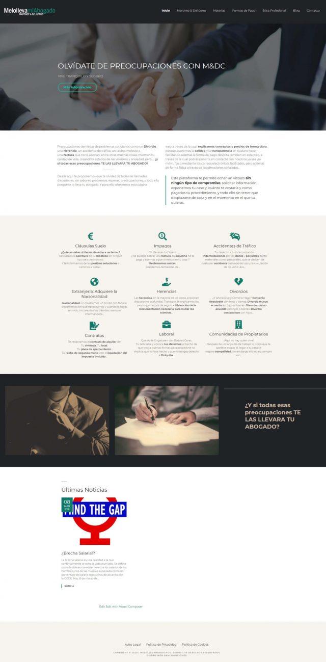 Diseño de la página de Inicio - Melollevamiabogado